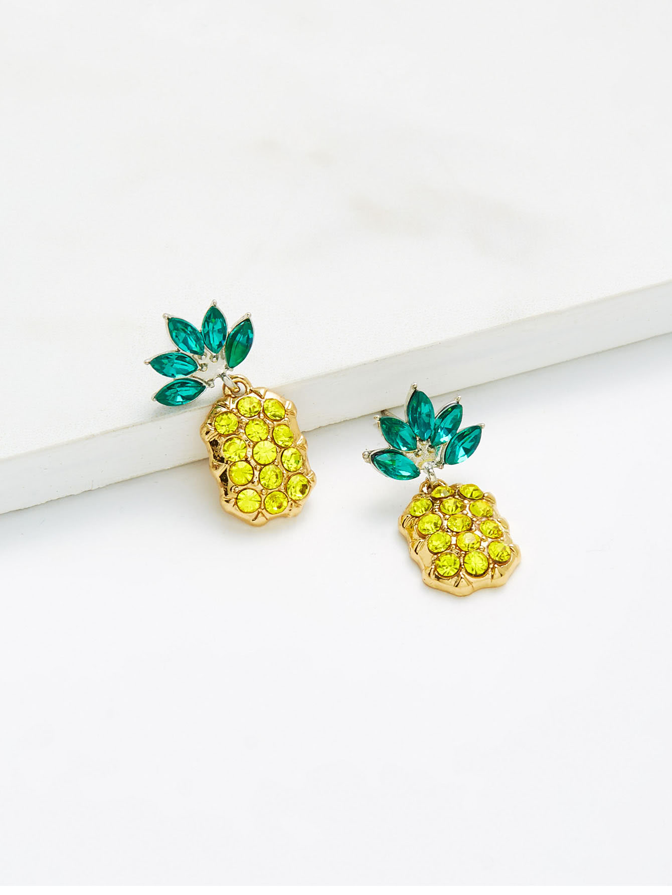 Rhinestone Overlay Pineapple Shaped Earrings pineapple shaped pu bag