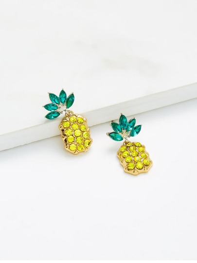 Rhinestone Overlay Pineapple Shaped Earrings
