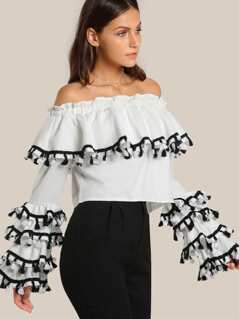 Off SHoulder Tassel Accent Crop Top WHITE