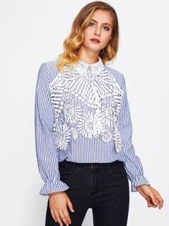 Guipure Lace Applique Bell Cuff Blouse
