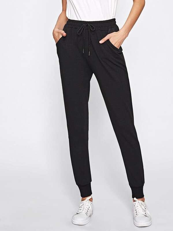 Drawstring Waist Pocket Side Sweatpants, Maria K