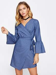 Flute Sleeve Overlap Chambray Dress