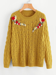 Embroidered Patch Drop Shoulder Eyelet Sweater