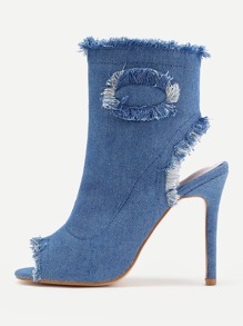 Raw Trim Denim Stiletto Heels