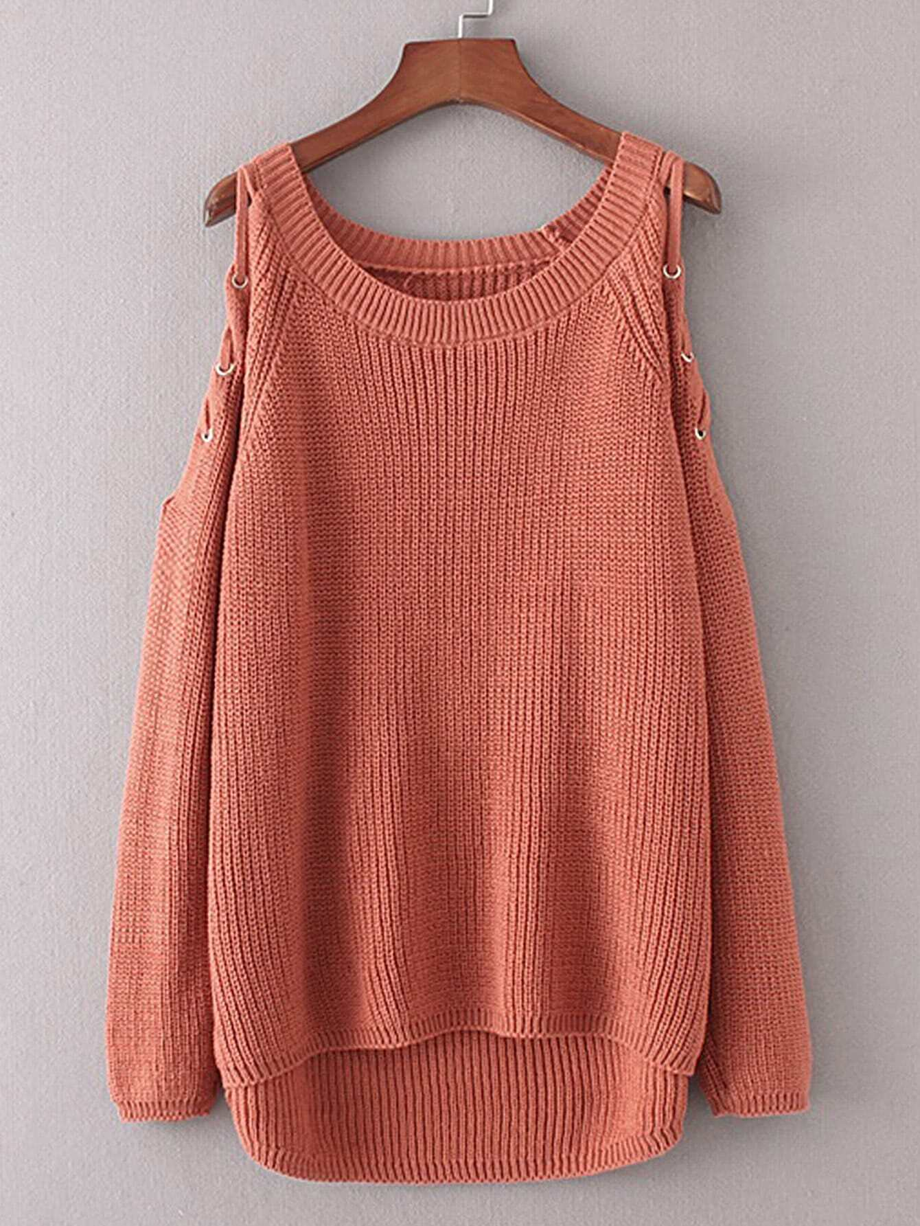 Lace Up Shoulder Dip Hem Sweater sweater170818210