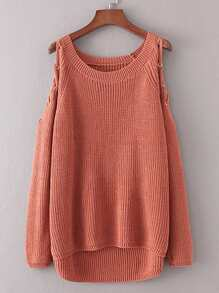 Lace Up Shoulder Dip Hem Sweater