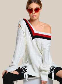 Lace Up Ribbed Sweater  IVORY RED