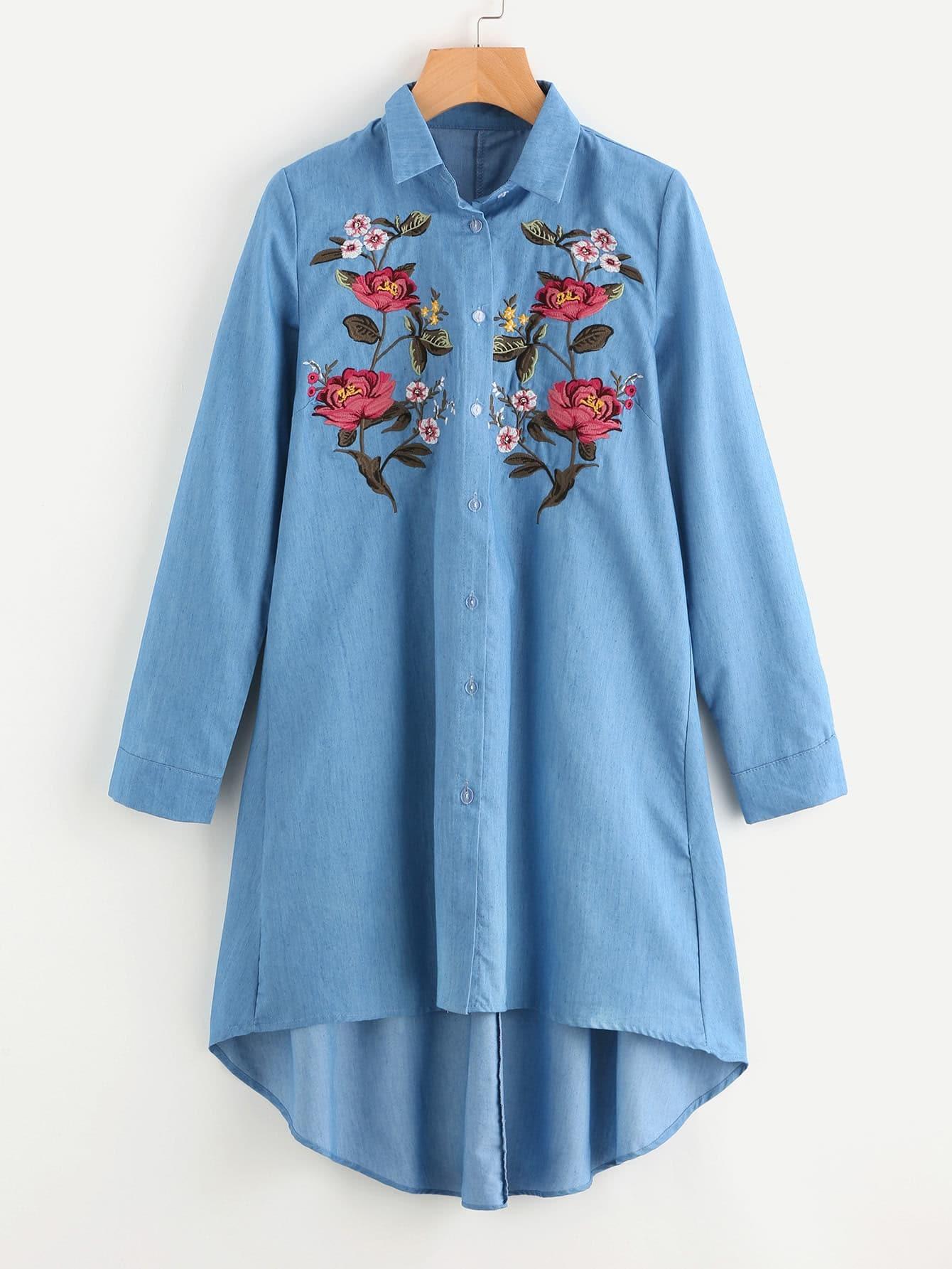 Image of Flower Embroidered Front Denim Shirt Dress