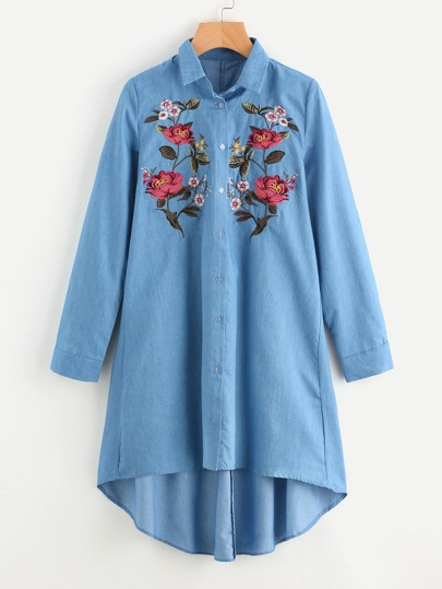 Flower Embroidered Front Denim Shirt Dress