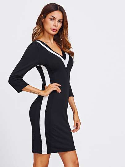 V-neckline Stripe Trim Sheath Dress