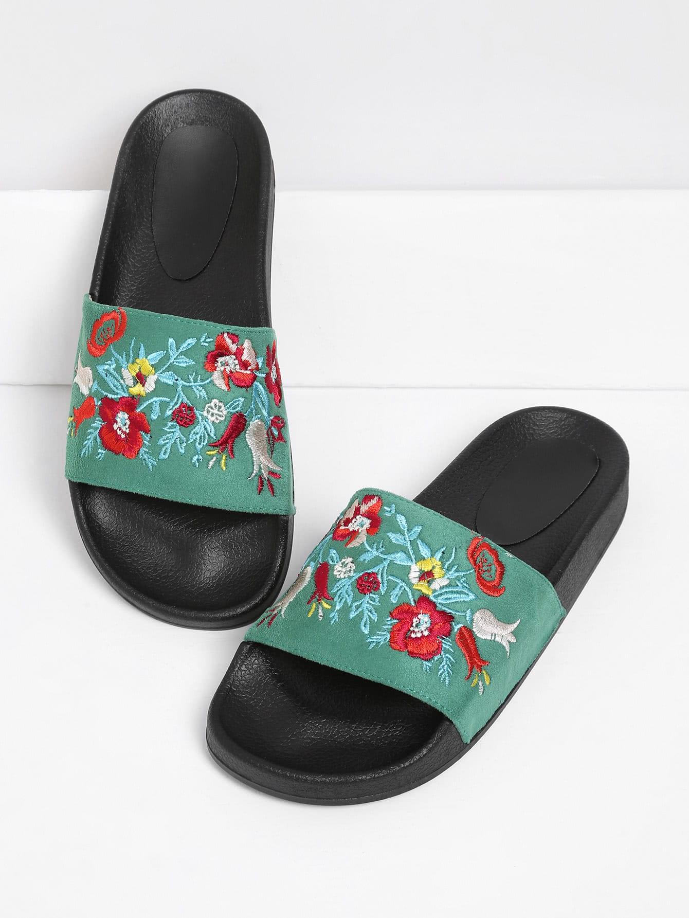 Embroidered Flower Slip On Sandals