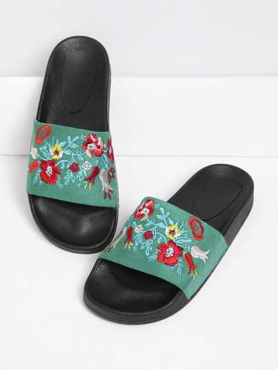 Embroidered Flower Slip On Sandals