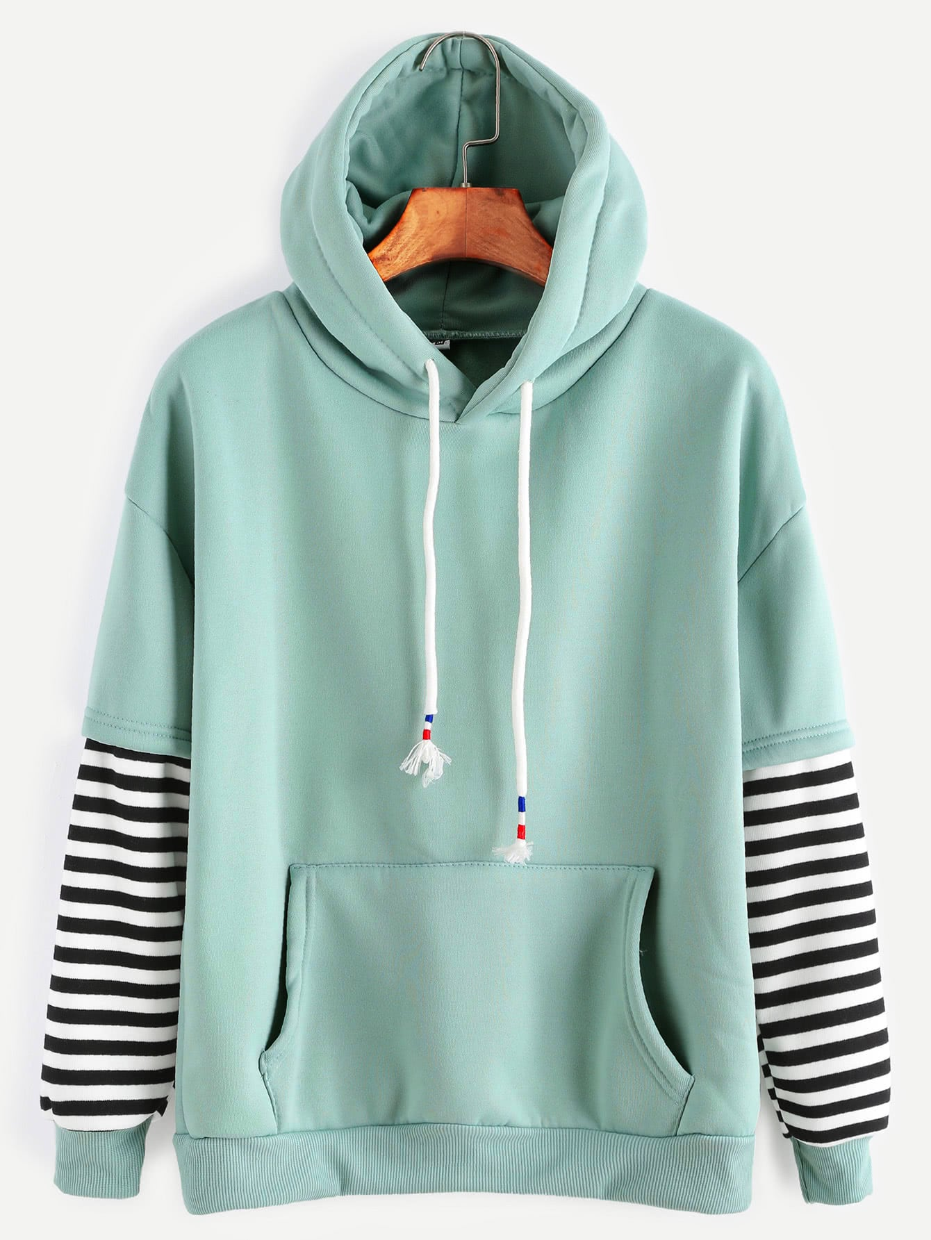 Sleeve Striped Drawstring Hooded Sweatshirt With Pocket alien print drop shoulder hooded drawstring sweatshirt