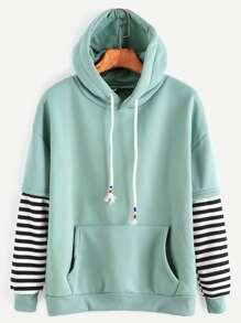 Sweat-shirt à capuche manche à rayures cordon avec poche -vert pâle