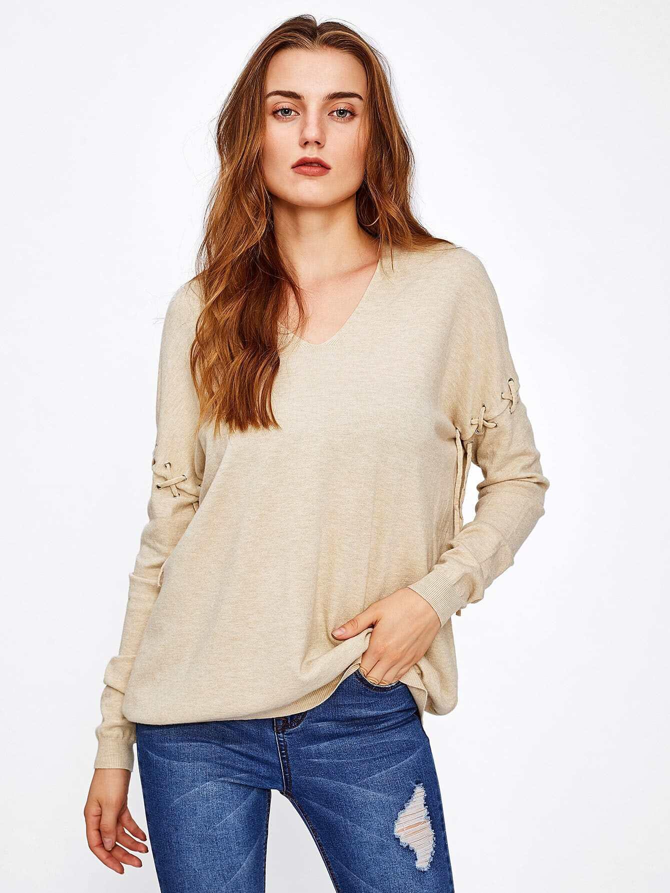 Eyelet Lace Up Sleeve Knitwear sweater170713401