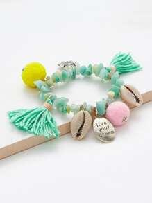 Shell & Tassel Detail Beaded Bracelet