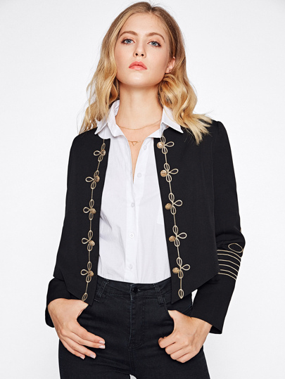 Golden Button Embellished Embroidery Blazer