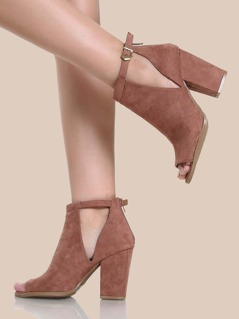 Peep Toe Cut Out Booties DARK BLUSH