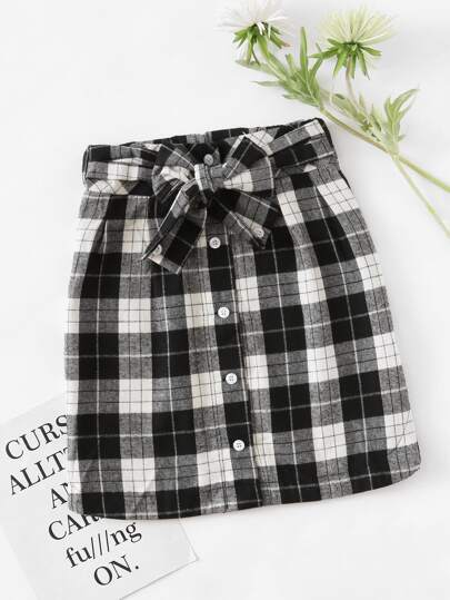 Checked Self Tie Waist Button Front Skirt