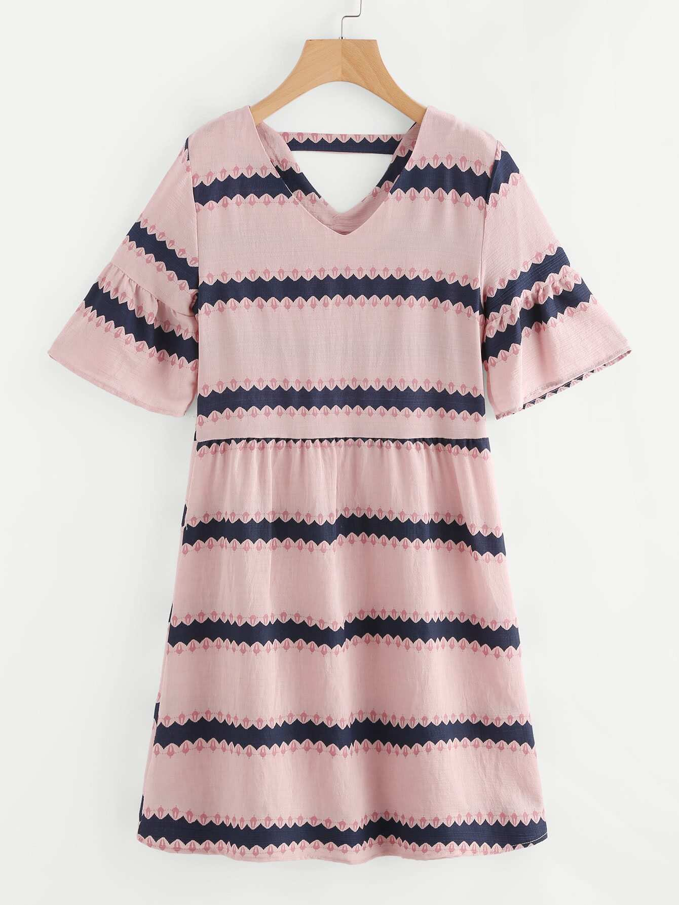 Contrast Print Double V Fluted Sleeve Dress v notch pearl leaf chain detail fluted sleeve dress