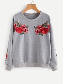 Embroidered Appliques Drop Shoulder Sweatshirt