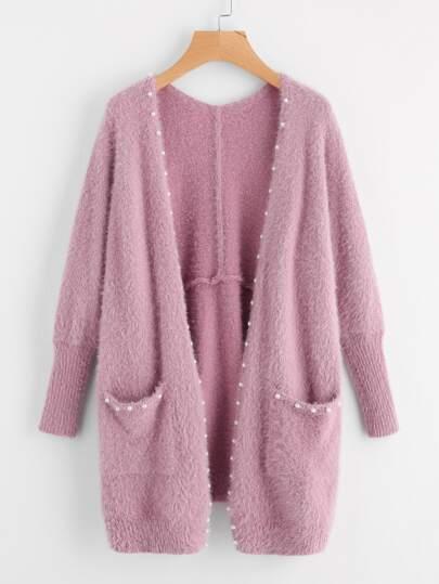 Pearl Beading Pocket Front Fuzzy Sweater Coat