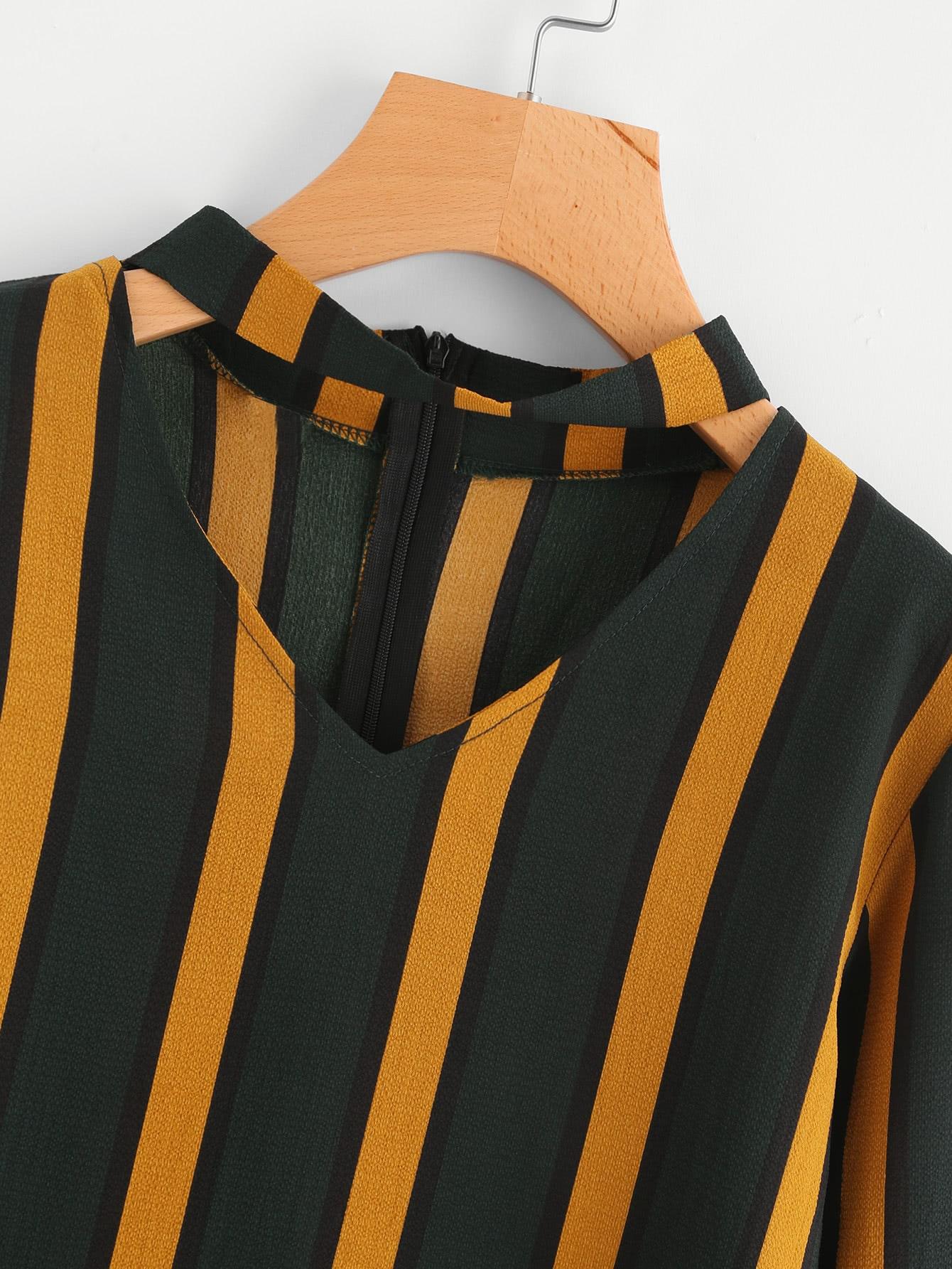 V Cut Striped Blouse