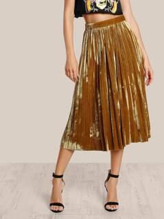 Velvet High Rise Pleated Skirt MUSTARD