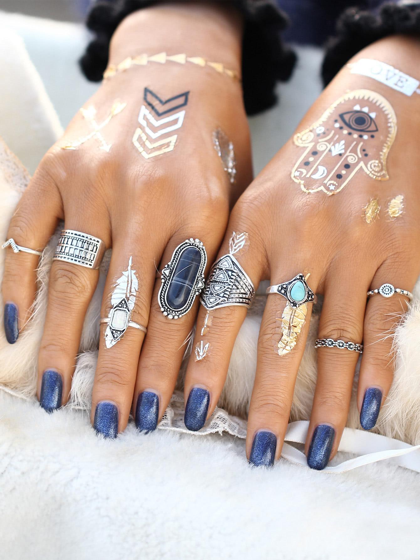 Multi Shaped Gemstone Etched Ring Pack все цены