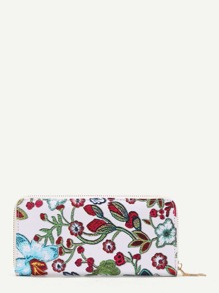 Flower Embroidery PU Wallet