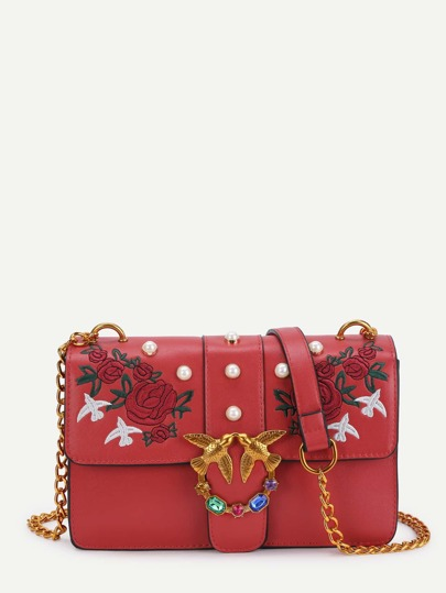 Rose & Bird Decorated PU Chain Bag With Faux Pearl