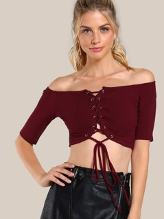 Grommet Lace Up Top BURGUNDY