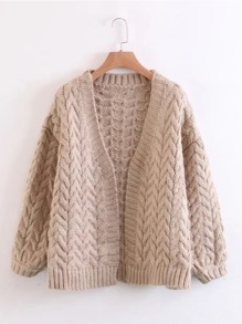 Sweater manteau en tricot à câble