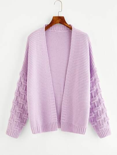 Textured Sleeve Open Front Sweater Coat