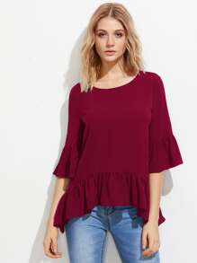 Trumpet Sleeve Frilled Hem Top