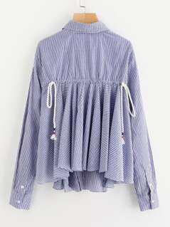 Drawstring Ruffle Back Hidden Placket Blouse