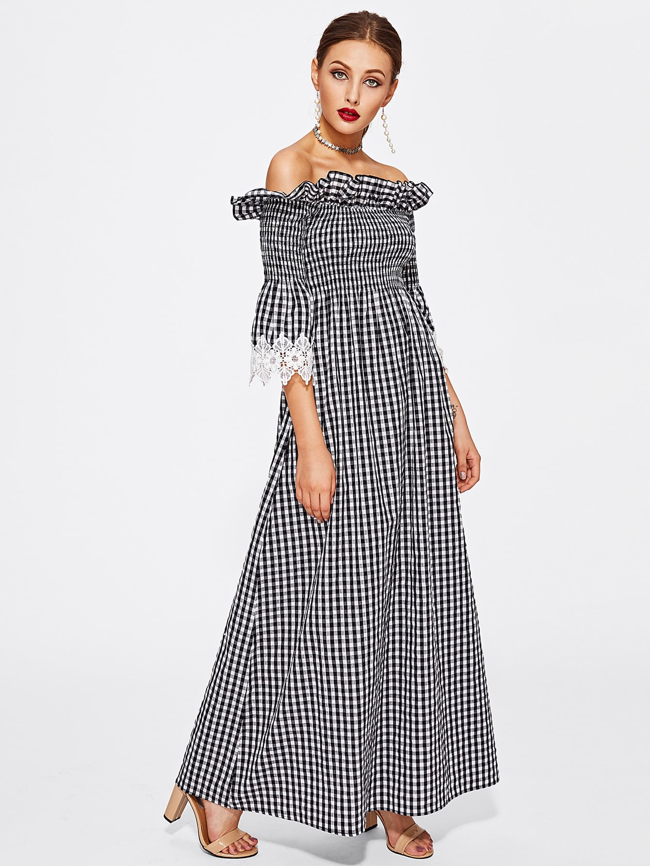 Contrast Lace Cuff Frill Detail Smocked Gingham Dress frill layered pearl detail sweatshirt dress