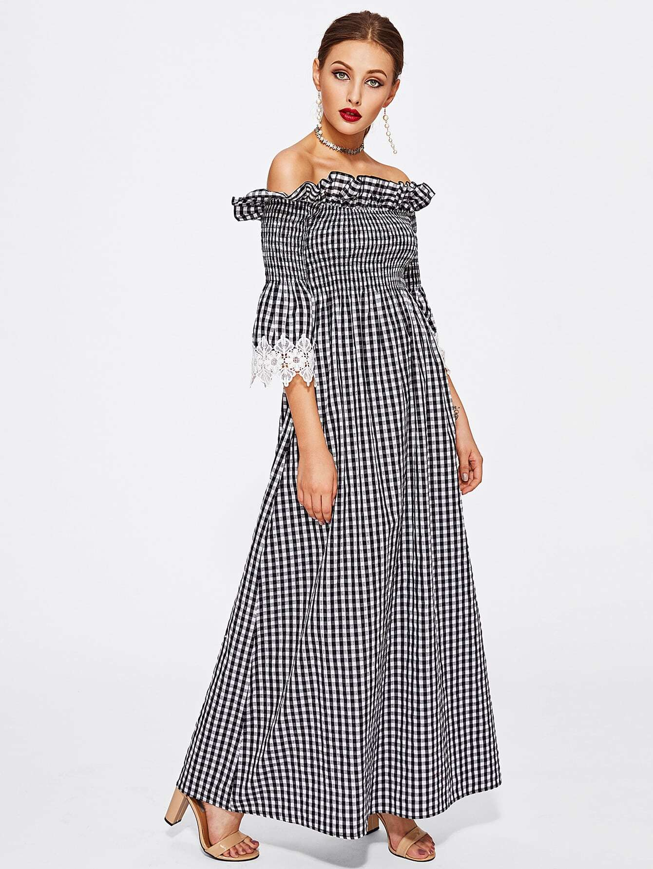 Contrast Lace Cuff Frill Detail Smocked Gingham Dress pearl detail frill off shoulder dress