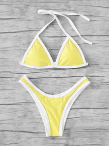 Contrast Piping High Leg Bikini Set
