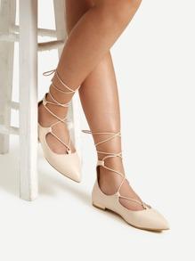 Pointed Toe Tie Leg PU Flats