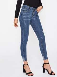 Contrast Frayed Hem Jeans