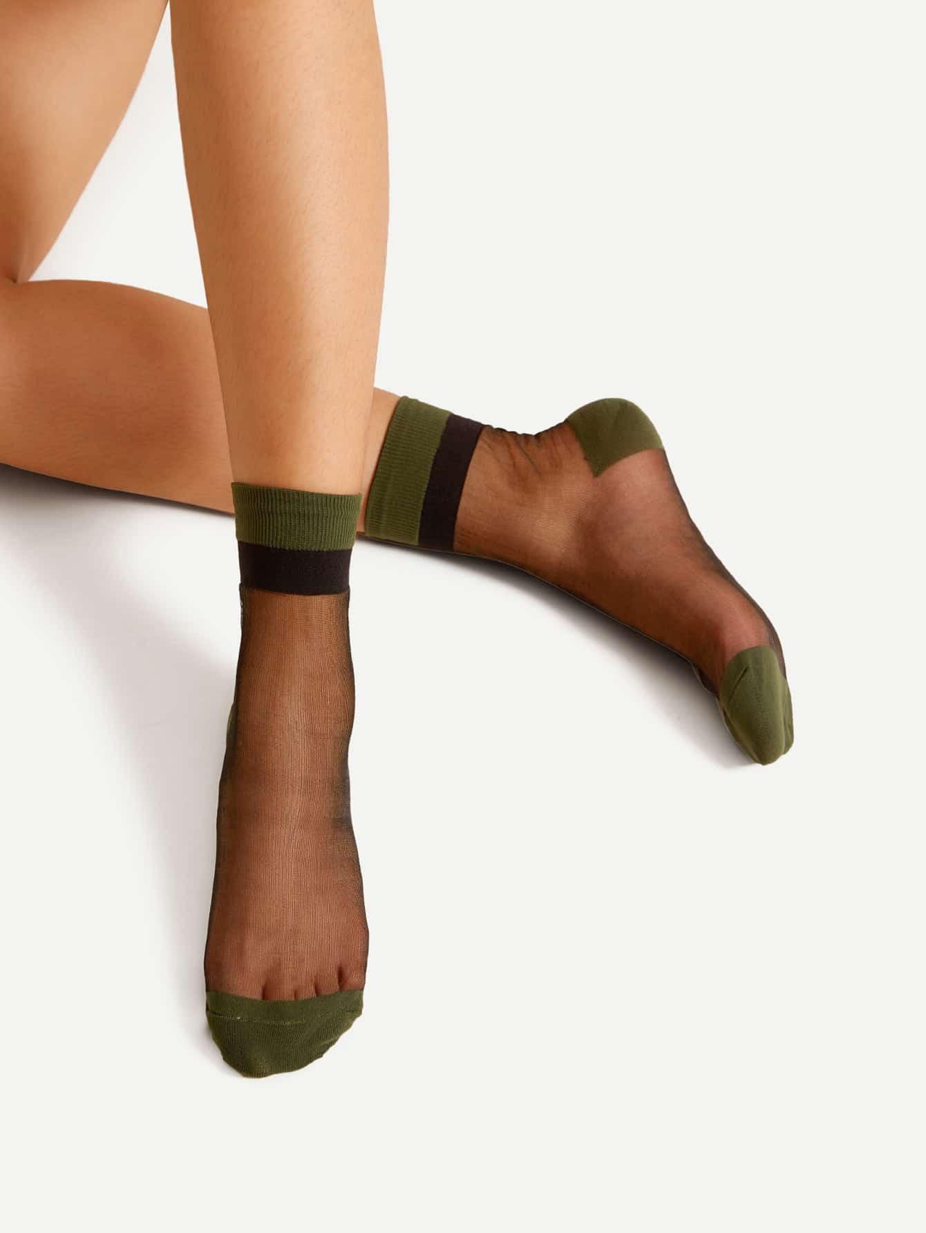 Contrast Heel And Toe Mesh Socks