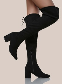 Drawstring Faux Suede OTK Boots BLACK