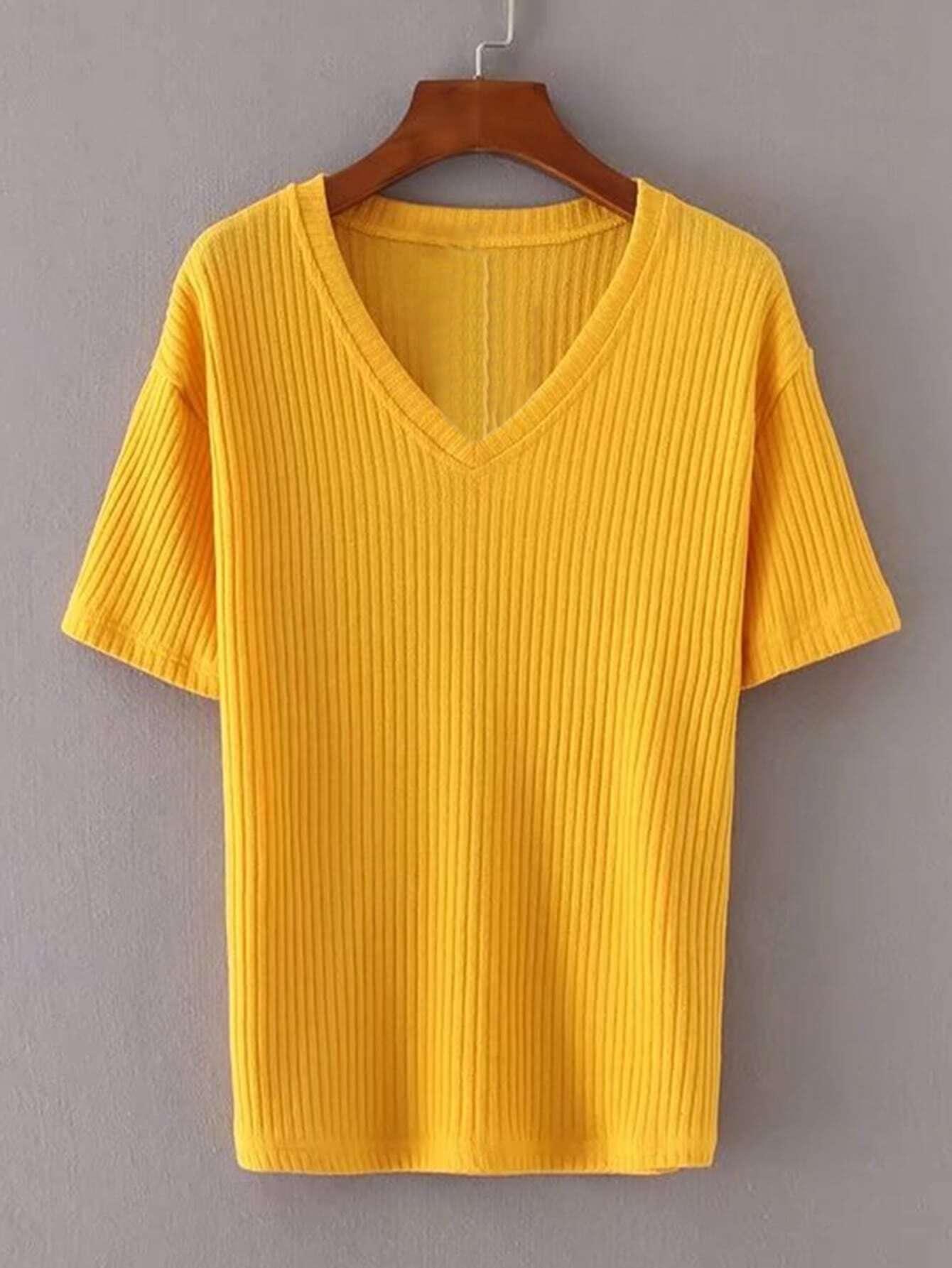 V Neckline Ribbed Knitwear RKNI170831203