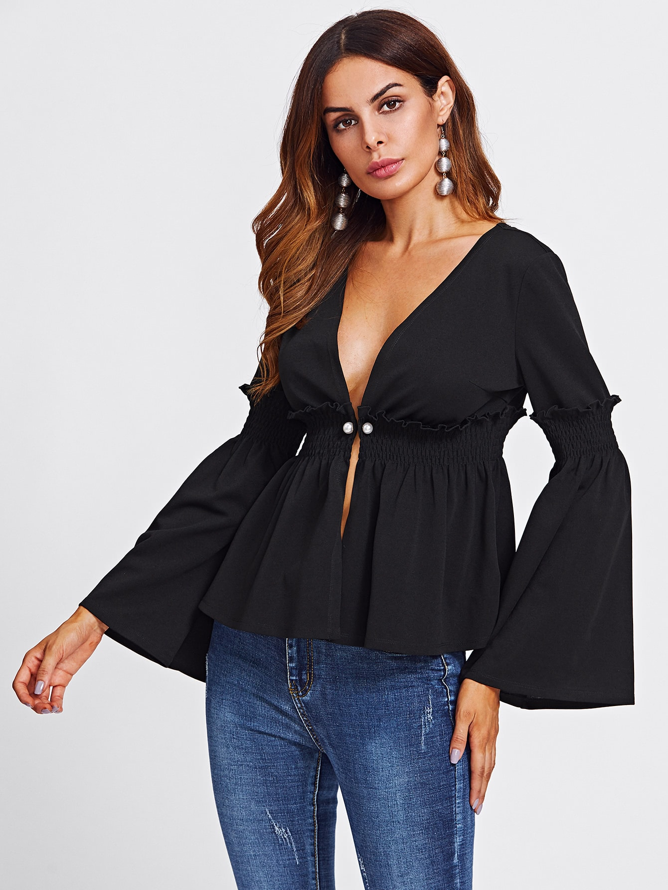 Pearl Pin Detail Bell Sleeve Shirred Peplum Coat pearl detail bell sleeve v chock neck bodysuit