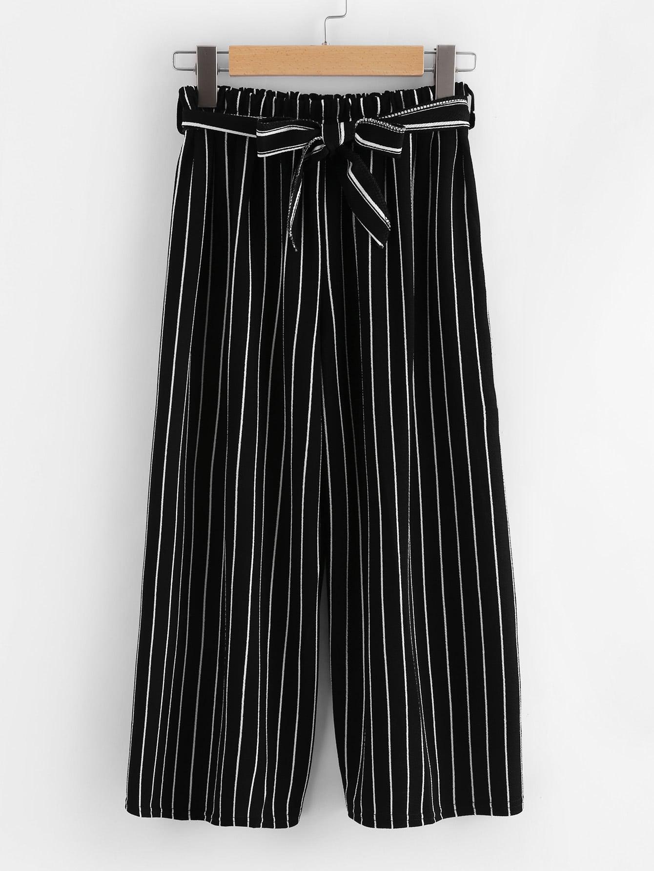Vertical Stripe Self Tie Wide Leg Pants