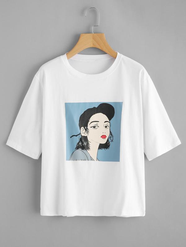 Girl Print Tee -SheIn(Sheinside)