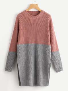 Two Tone Slit Side Longline Sweater