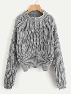 Solid Scallop Hem Sweater
