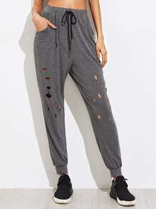 Cut Out Heather Knit Sweatpants